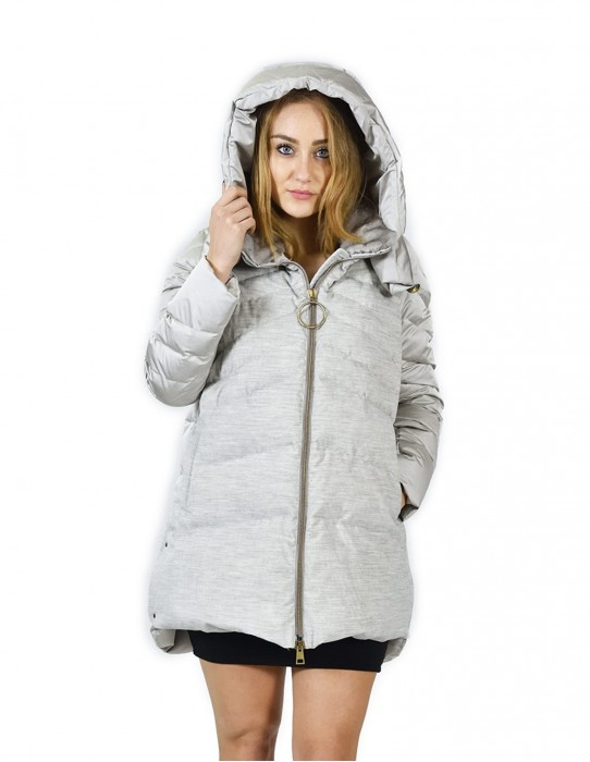 48 Gray down jacket with wool part and hood with rex piumino Daunenjacke doudoune