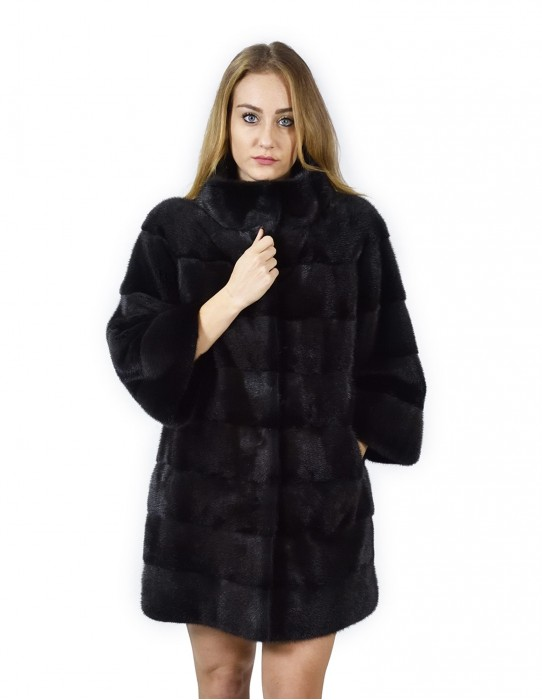 46 horizontal black mink coat Korean neck 88 cm fourrure de vison pelliccia visone Nerz