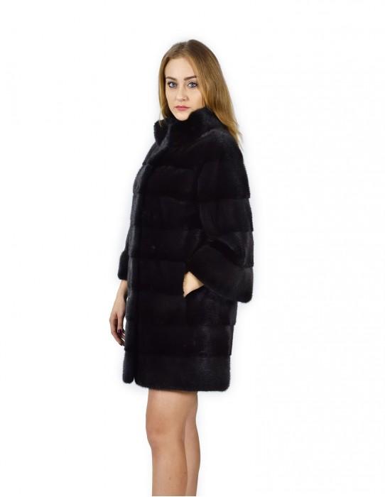 50 horizontal black mink coat Korean neck 88 cm fourrure de vison pelliccia visone Nerz