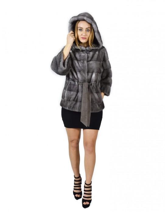 42 Blue irish horizontal mink coat hood 68 cm fourrure de vison pelliccia visone Nerz