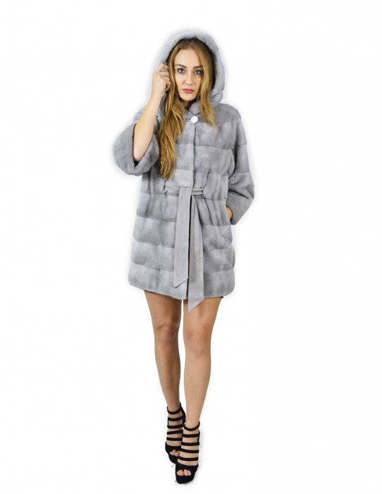 48 Sapphire horizontal mink coat with hood and belt 86 cm fourrure de vison pelliccia visone Nerz