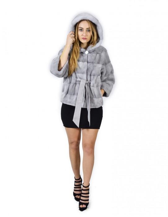 44 Sapphire horizontal mink coat hood 68 cm fourrure de vison pelliccia visone Nerz