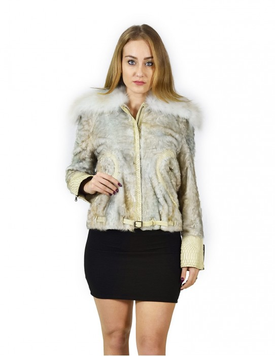 pearl gray fur calgan with fox and decorations in python 44 pelz fourrure pelliccia