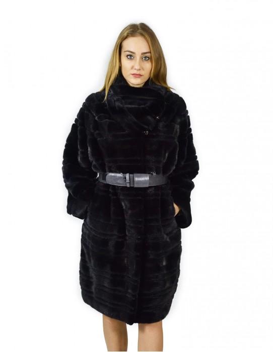 48 Horizontal mink coat blue neck hood rigid skin pelz nerz pelliccia visone норка fourrure vison