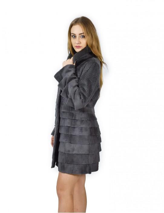 46 coat rabbit fur shaved gray neck color rex fourrure 毛皮 pelliccia mex pelz
