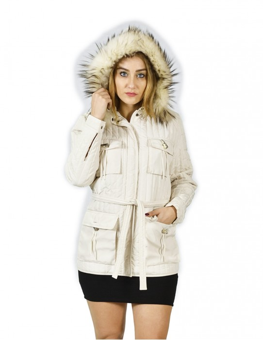 22 Maggio white quilted jacket with hood with removable fox 42 piumino Daunenjacke doudoune