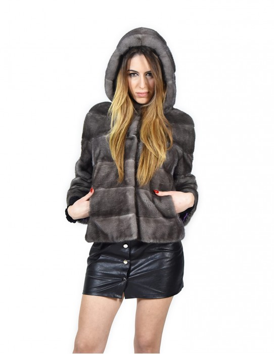 Women's mink fur jacket 44 iris blue with hood horizontal fourrure de vison pelliccia Nerz