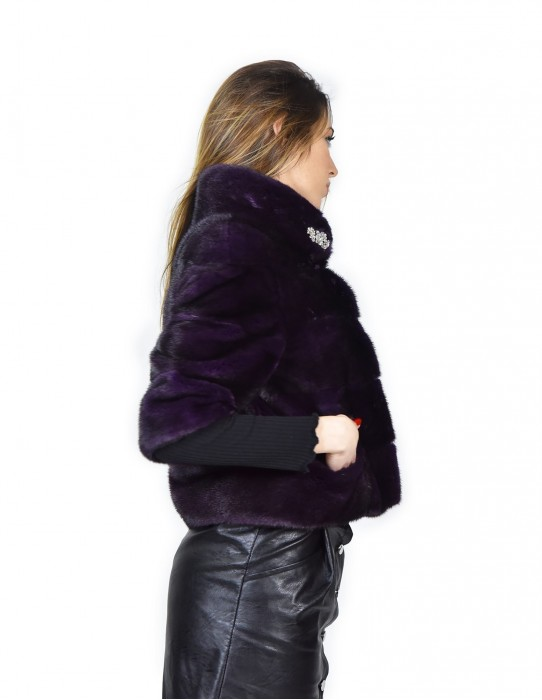 Giacca in pelliccia di visone orizzontale colore viola 42 slim fourrure de vison mink fur Nerz