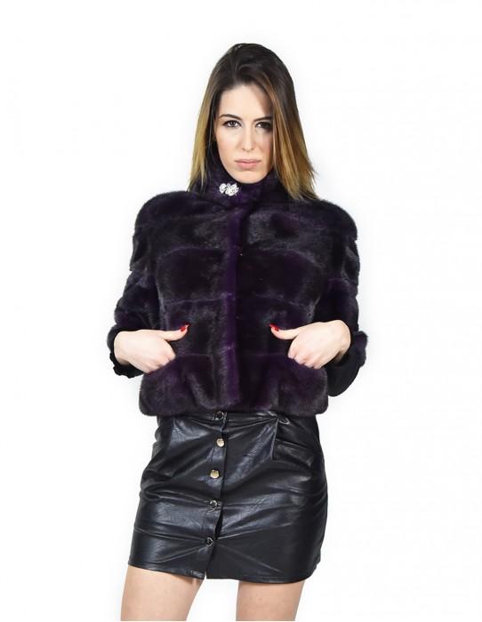 Jacket horizontal purple mink coat 42 Slim fourrure de vison pelliccia visone Nerz