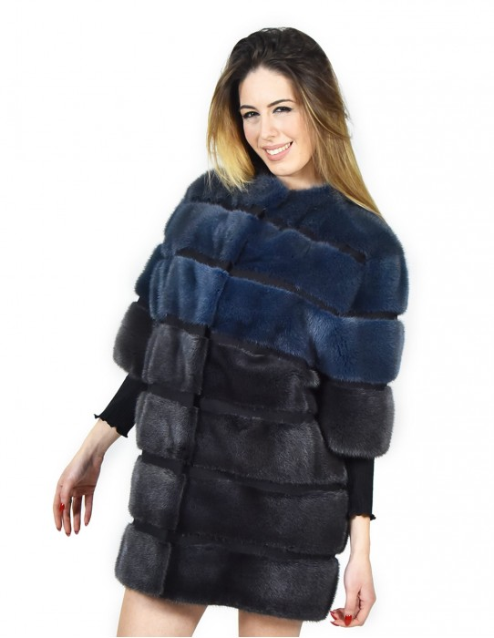 42 Mink fur coat in horizontal color bluray fourrure de vison pelliccia visone Nerz