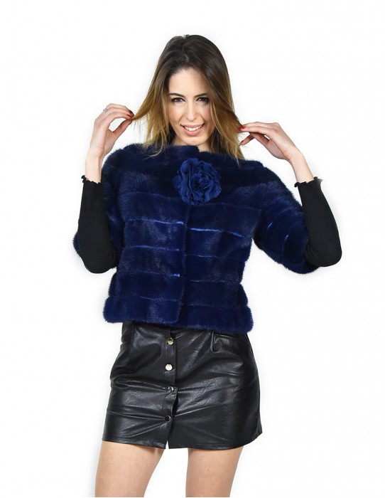 42 Horizontal mink blue lapis jacket with leather transport fourrure de vison pelliccia visone fur Nerz