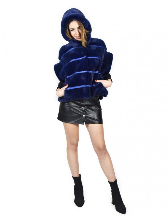 42 Lapis blue mink vest woman whit hood and side split pelliccia visone Nerz fourrure de vison