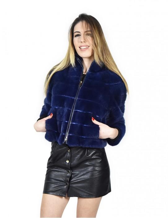 44 Nerzjacke horizontal Frauen lapis blau mit Reißverschluss und Ledertrage vison норка fur mink visone fourrure