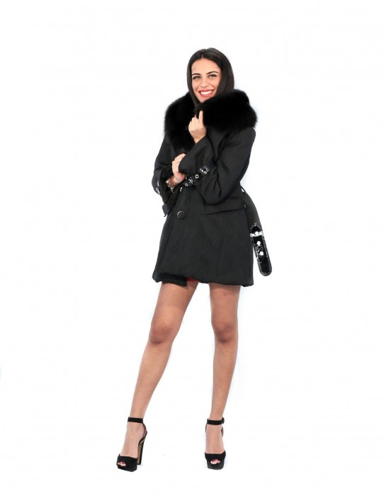 PUFFER JACKET WITH PROCESSING AND LARGE SHAWL COLLAR BLACK FOX AND INSERTS VE