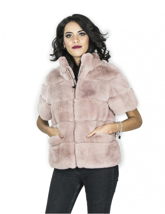 pink jacket rex crater neck 40 мех Pelz pelliccia fourrure 毛皮 فرو