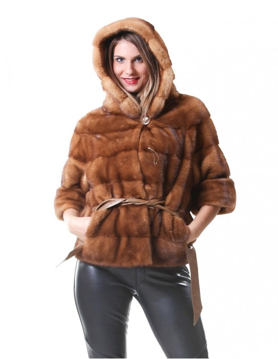 MINK FUR JACKET WOMAN MODEL COLOR PAJAMA HONEY