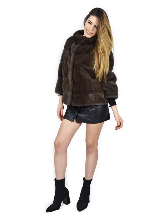 Mink fur jacket horizontal mud asphalt 48 pelliccia visone Nerz pelz мех норки