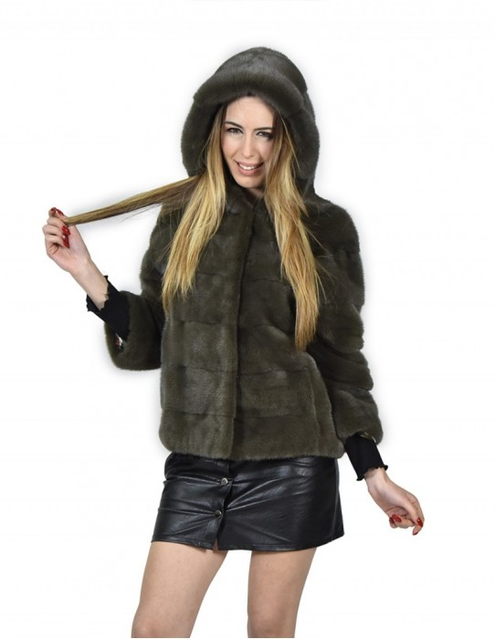 Jacket 46 mink fur horizontal olive green cap with 3/4 sleeve