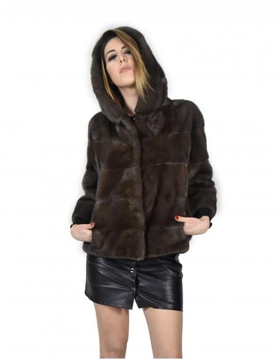 46 Giacca pelliccia di visone orizzontale color fango asfalto donna con cappuccio e manica 3/4