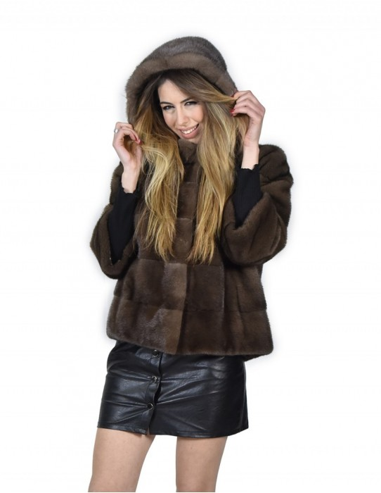 Jacket woman in mink fur horizontal color steelblue 48 hooded