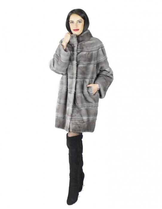 42 Cappotto donna pelliccia di visone grigio chiaro lungo orizzontale Braschi Studio B