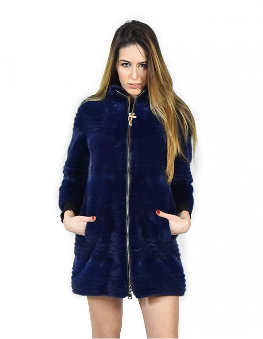 42 mink coat woman horizontal blue lapis slim mandarin collar and zip fourrure de vison mink fur Nerz