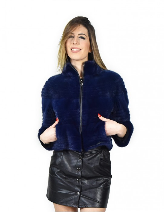 42 Cropped Jacket mink horizontal blue lapis zip leather carrying vison норка fur mink Nerzpelzes fourrure