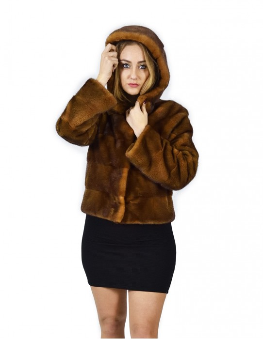 42 Giacca pelliccia visone orizzontale golden cappuccio 58 cm fourrure de vison mink fur Nerz