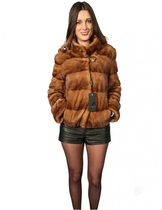 42 Women's fur mink blouson with golden horizontal machining with piping neck