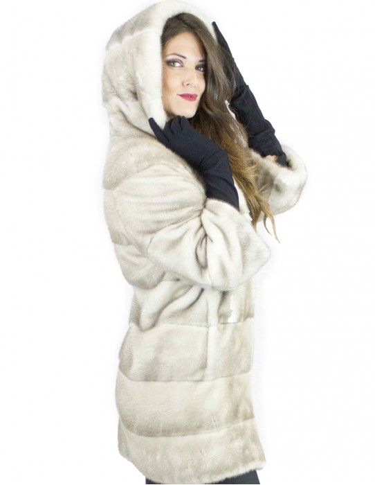 42 mink fur long gray ice black woman with zip and hood 3/4 sleeves