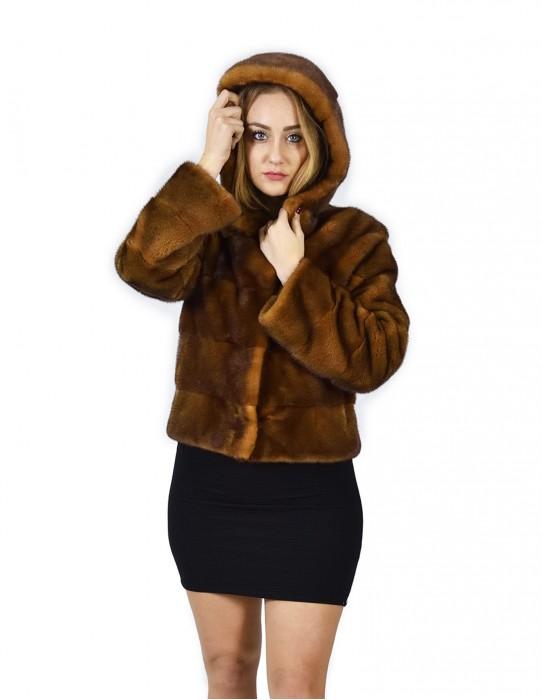 44 Jacket mink fur horizontal golden hood 58 cm fourrure de vison mink fur Nerz