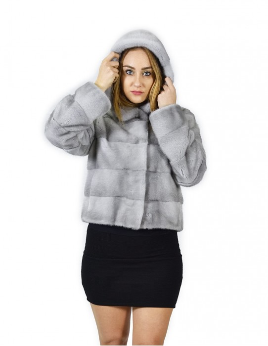 44 Jacket Nerzpelzes horizontal Saphirkappe 58 cm fourrure de vison Nerzpelzes Nerz