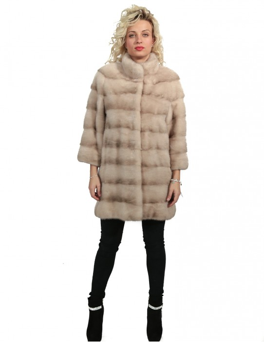 44 mink fur coat studio b flamingo with horizontal machining and piping neck