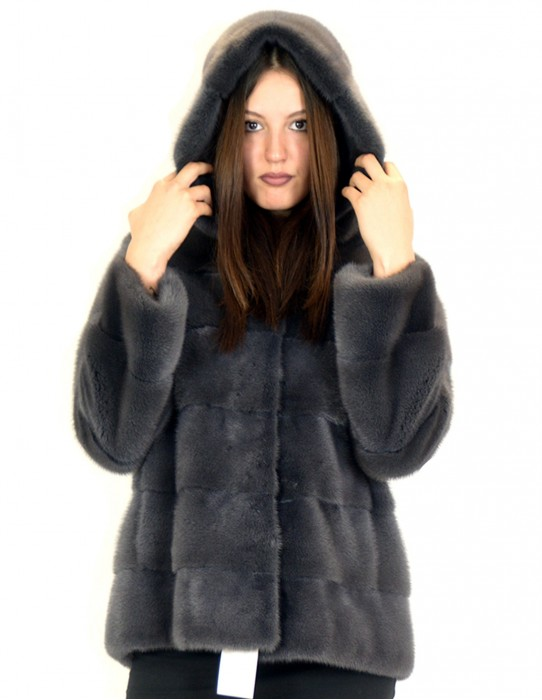 46 horizontal mink fur coat 70 cm anthracite gray hooded