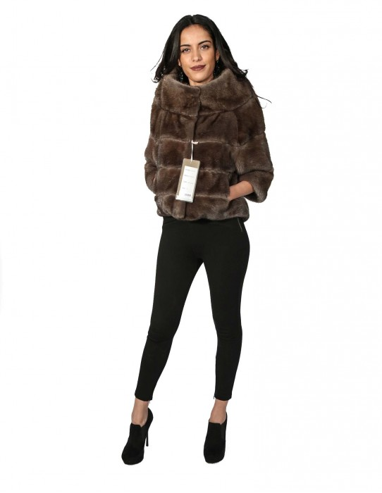46 fur jacket mink cape horizontal brown with gray moon crater neck