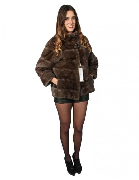 46 Pelliccia donna giacca visone gray moon orizzontale con collo pistagna manica 3/4
