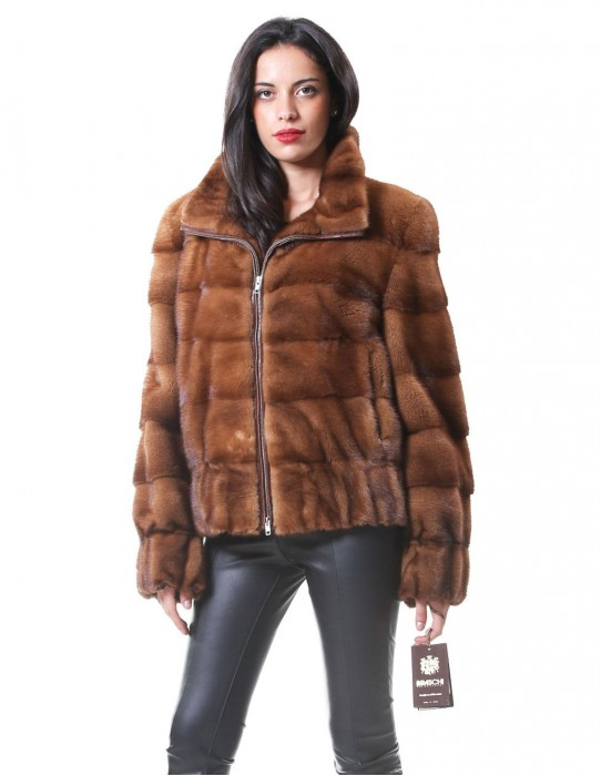 46 Fur coat Braschi golden mink blouson woman in fashionable sporty cut