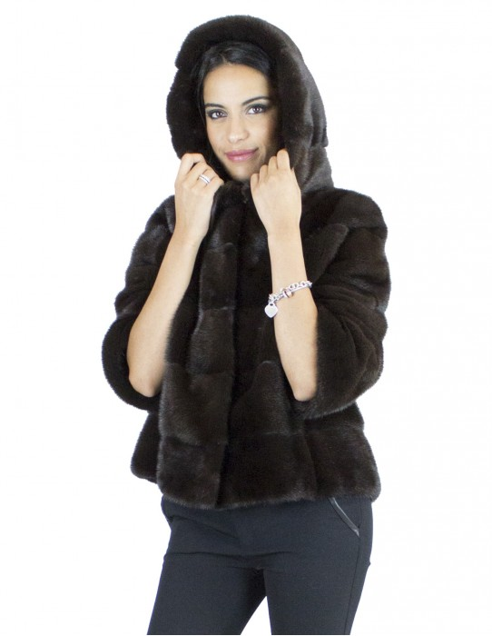 48 mink fur jacket horizontal finely crafted dark chocolate-colored hooded
