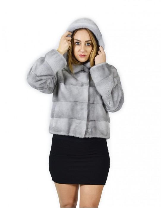 48 Jacket horizontal Nerzpelzes Saphirkappe 58 cm fourrure de vison Nerzpelzes Nerz