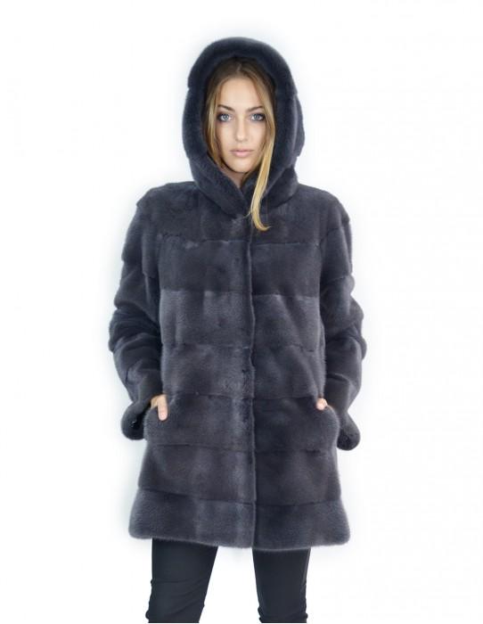 50-52 Cappotto pelliccia visone orizzontale blu antracite 81 cm con cappuccio ampio