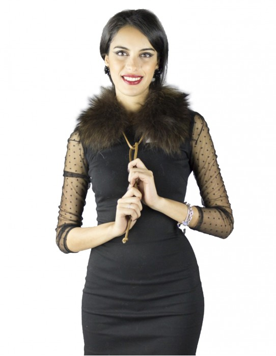 Fox collar black-feathered brown with laces for single use skin Pelzkragen with fourrure fur collar