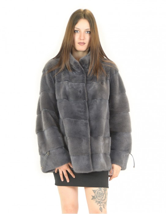 Fur mink jacket anthracite blue horizontal women 52 drawstring sleeves