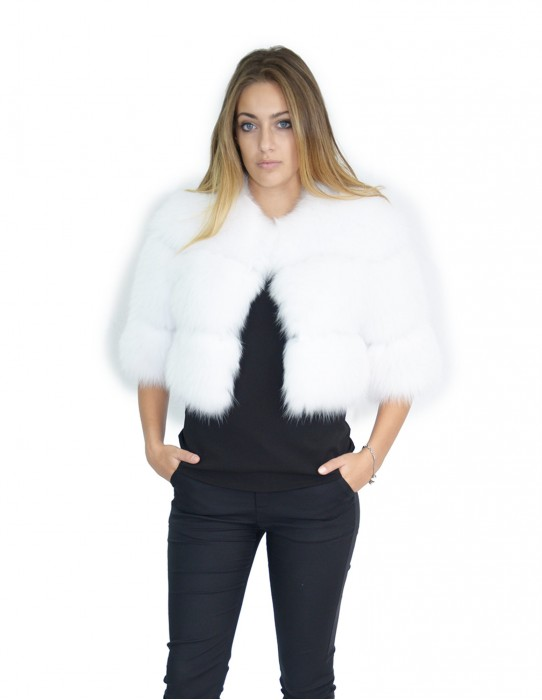 small cape white fox fur jacket with leather inserts 44-46 bride