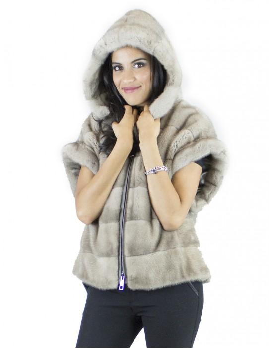 Vest Silverblue Fur hood 44 vison норка mink fur mink Nerzpelzes fourrure