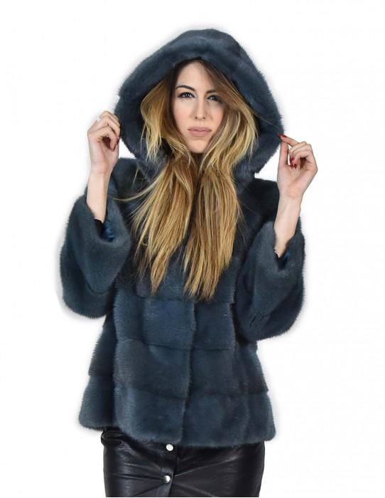 Норки пальто с бензиновым цвета с капюшоном норка 50 Nerz Pelz мех норки