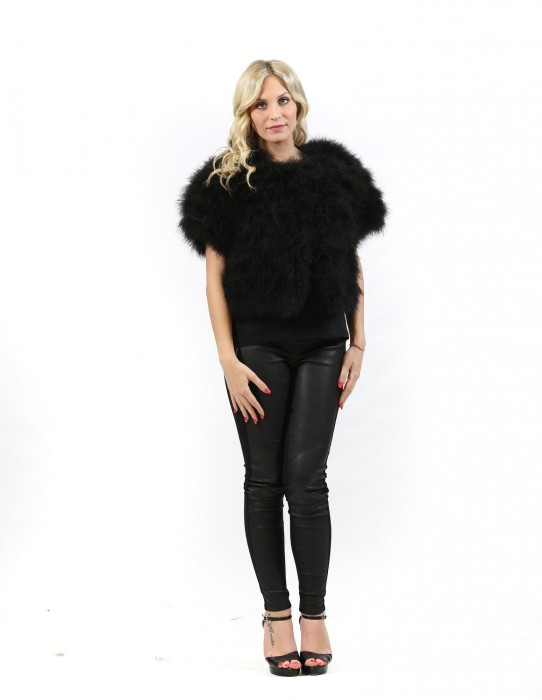 Fur cape with short black feathered Pignatelli-46 hooks