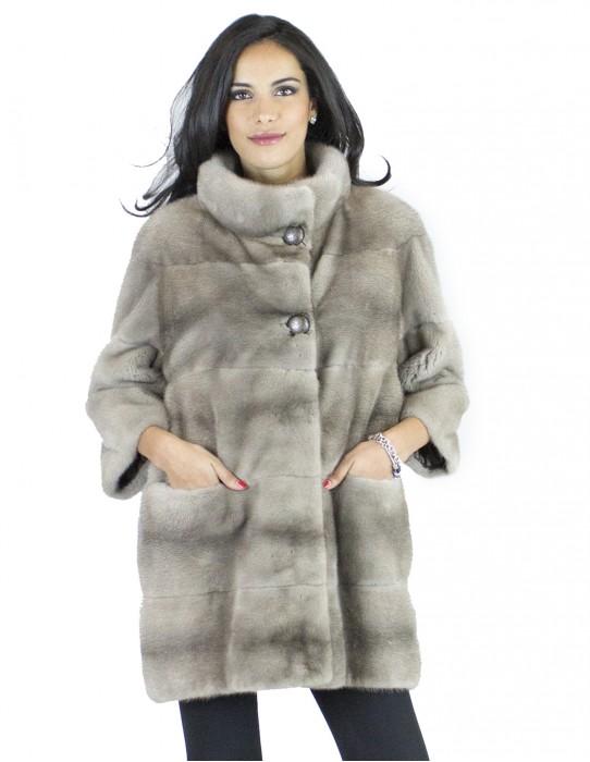 Fur mink silver hooks 46 blue buttons crater neck fur mink норка Nerzpelzes fourrure vison