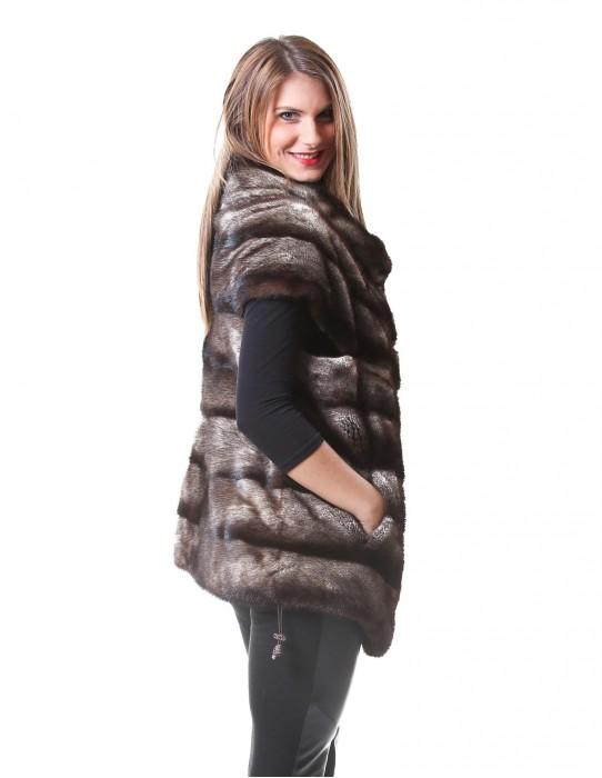 46 horizontal mink fur vest woman sand color dorsato and bottom drawstrings