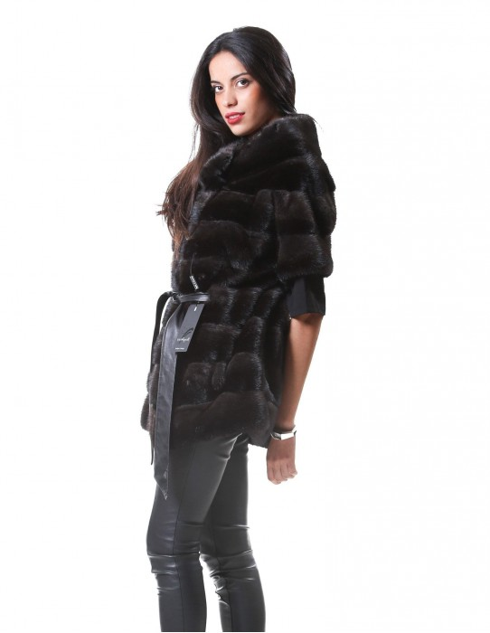 46 Women's mink fur sleeveless dark gray dorsato
