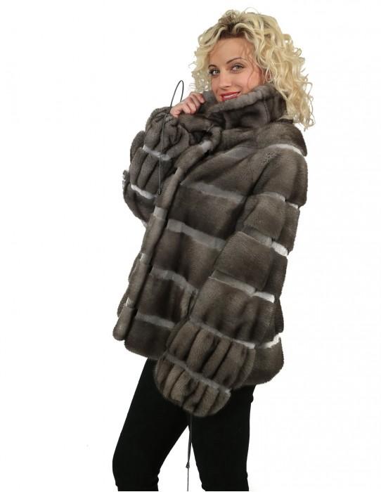 46 Женские куртки норки Braschi голубой ирис NAFA Mink чередуется с бритой норки